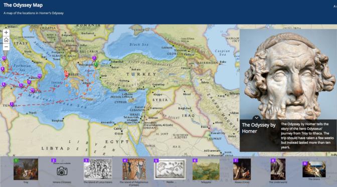 Carte interactive des lieux de l'Odyssée