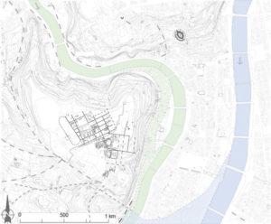 Fig. 6. Plan de Lugdunum au IIe siècle (DAO : E. Dumas d'après un plan de l'atlas topographique de Lyon ; fond de plan du Grand Lyon)